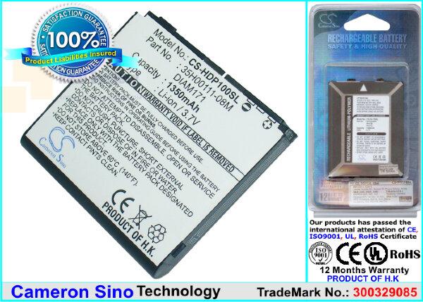 Аккумулятор CS-HDP100SL для Verizon XV6850 3,7V 1350Ah Li-ion