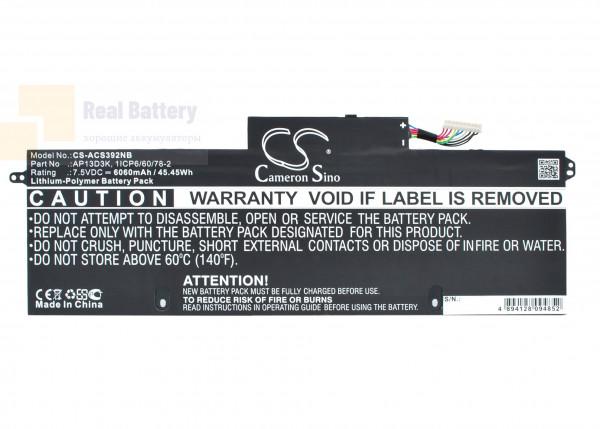 Аккумулятор CS-ACS392NB для Acer Aspire S3-392G 7,5V 6060mAh Li-Polymer