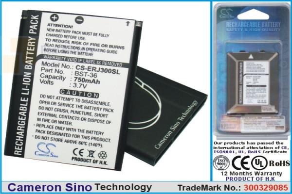Аккумулятор CS-ERJ300SL для Sony Ericsson J300 3,7V 750Ah Li-ion
