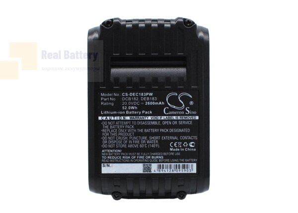 Аккумулятор для Dewalt DCD740 20V 2,6Ah Li-ion CS-DEC183PW