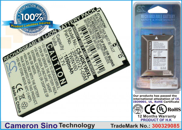 Аккумулятор CS-HDE190XL для T-Mobile G2 Touch 3,7V 1550Ah Li-ion
