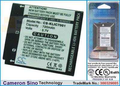 Аккумулятор CS-KLIC7001 для Winait DC-T140B 3,7V 720Ah Li-ion