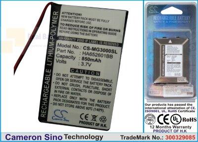 Аккумулятор CS-MG3000SL для Typhoon MyGuide 3000 3,7V 850Ah Li-Polymer