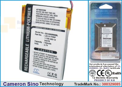 Аккумулятор CS-SA2000SL для Sony NW-A2000 3,7V 750Ah Li-Polymer