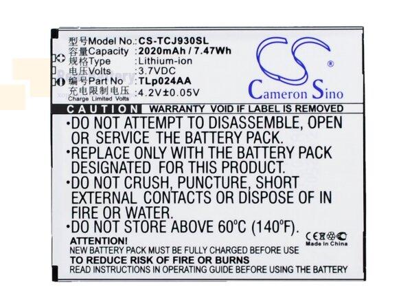 Аккумулятор CS-TCJ930SL для TCL J930 3,7V 2020Ah Li-ion