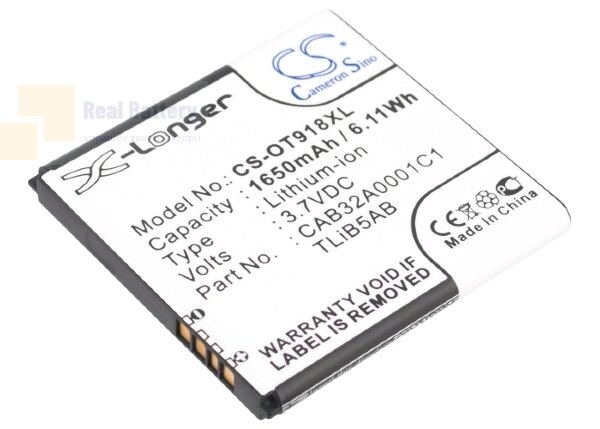 Аккумулятор CS-OT918XL для TCL A980 3,7V 1650Ah Li-ion