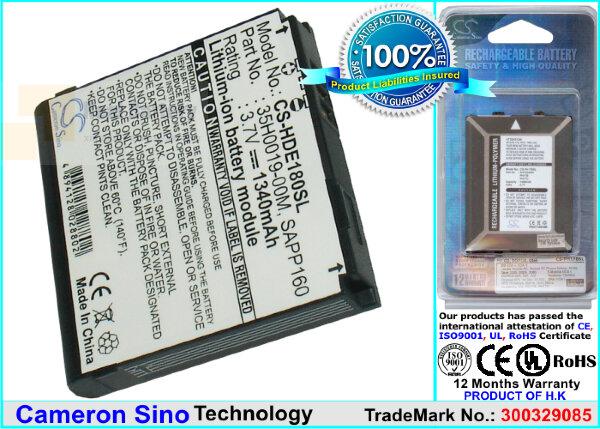 Аккумулятор CS-HDE180SL для T-Mobile Dash 3G 3,7V 1340Ah Li-ion