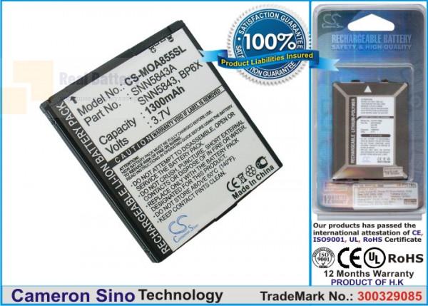 Аккумулятор CS-MOA855SL для Sprint ADMIRAL 3,7V 1300Ah Li-ion