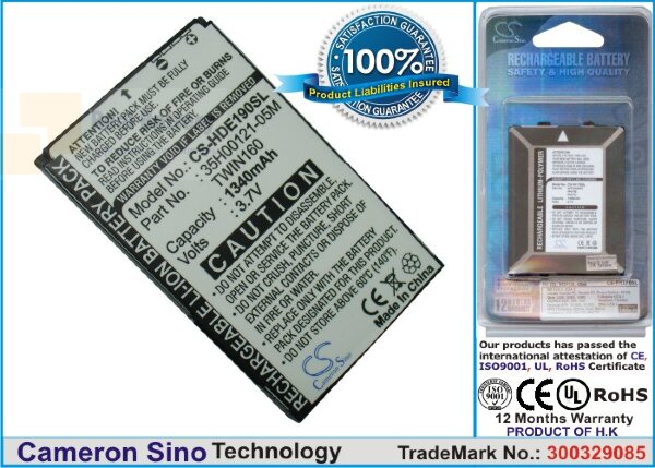 Аккумулятор CS-HDE190SL для Sprint Hero 3,7V 1340Ah Li-ion
