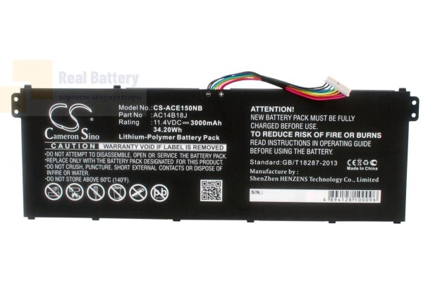Аккумулятор CS-ACE150NB для Acer Aspire Aspire ES1-111-C5M1  11,4V 3000mAh Li-Polymer