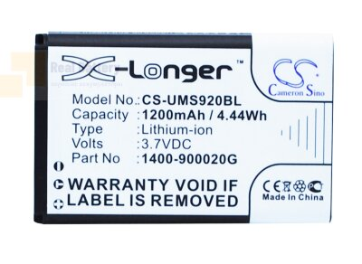 Аккумулятор CS-UMS920BL для Unitech MS920 3.7VV 1200Ah Li-ion