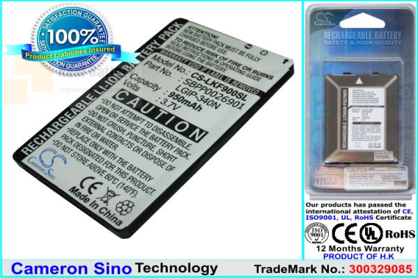 Аккумулятор CS-LKF900SL для VIRGIN MOBILE 101 3,7V 950Ah Li-ion